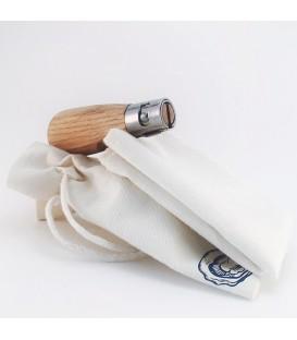 Ensemble pochon couteau à huître bois d'olivier et serviette